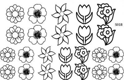 Слайдер дизайн трафарет цветы S018