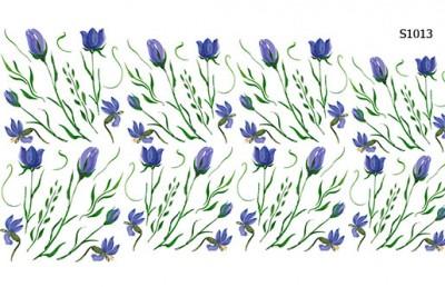Слайдер дизайн синие цветы от руки S1013