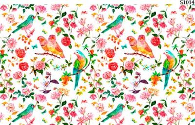 Слайдер дизайн весенние цветы, птички S1014