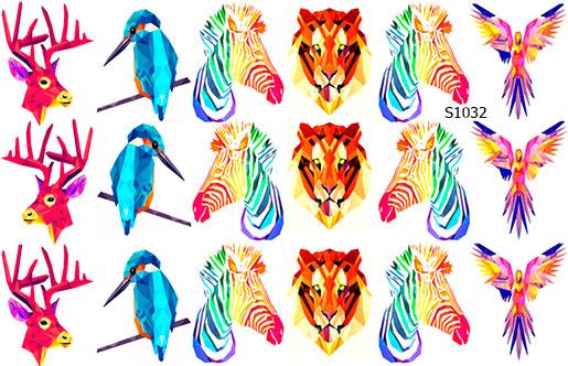 Слайдер дизайн геометрия цветные животные S1032