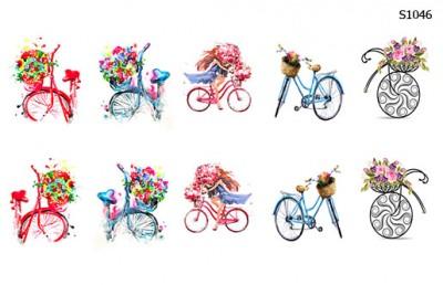 Слайдер дизайн велосипед с корзиной цветов S1046