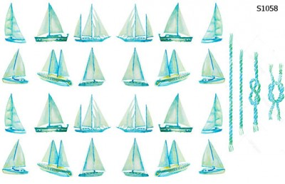 Слайдер дизайн акварель кораблики S1058