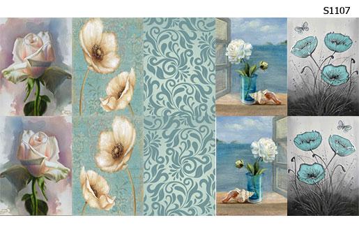 Слайдер дизайн цветы голубой S1106