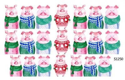 Слайдер дизайн свинки зимние S1250