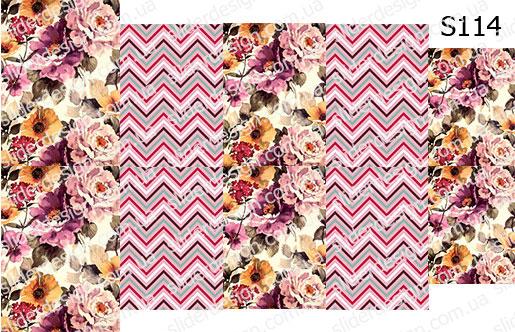Слайд-дизайн цветы+шеврон S114
