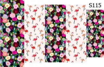 Слайд-дизайн цветы+фламинго S115