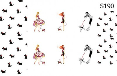 Слайд-дизайн модницы с собачками S190