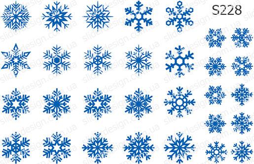Слайдер дизайн снежинки на ногтях S228