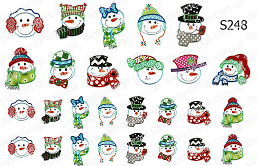 Слайдер дизайн снеговики сет S248