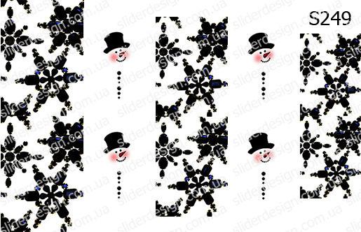 Слайдер дизайн снежинки и снеговики микс S249