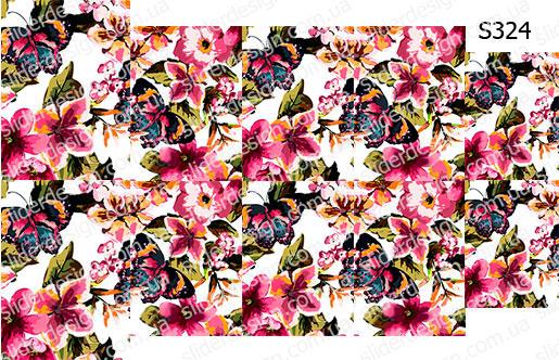 Слайдер дизайн цветы с бабочкой S324