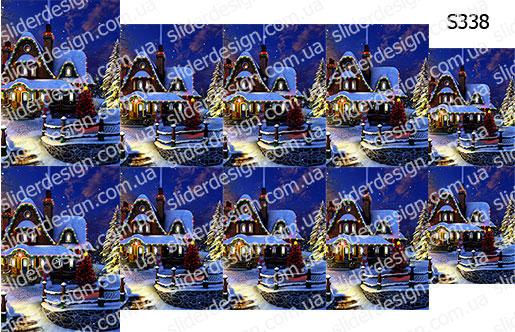 Слайдер дизайн картина зимний дома S338