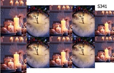 Слайдер дизайн Новый год свечи и часы S341