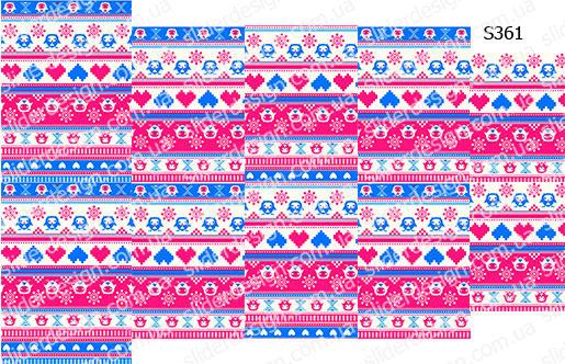 Слайдер дизайн яркий розово-голубой узор свитер S361