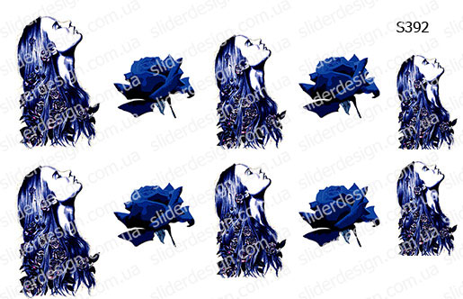 Слайдер дизайн девушка роза в синих тонах S392