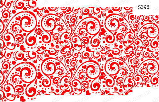 Слайдер дизайн цветочный узор с сердечками S396