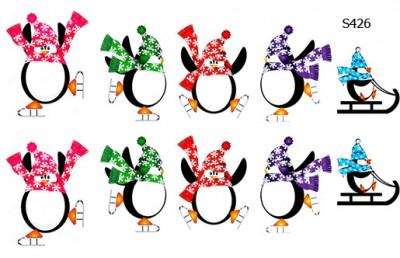 Слайдер дизайн пингвины в шапках S426