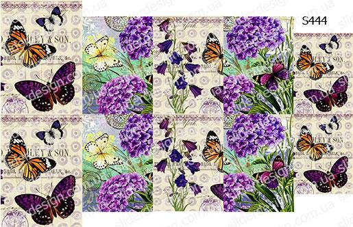 Слайдер дизайн декупаж сиреневые бабочки S444