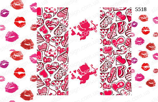 Слайдер дизайн поцелуи, сердечки, ангелок S518