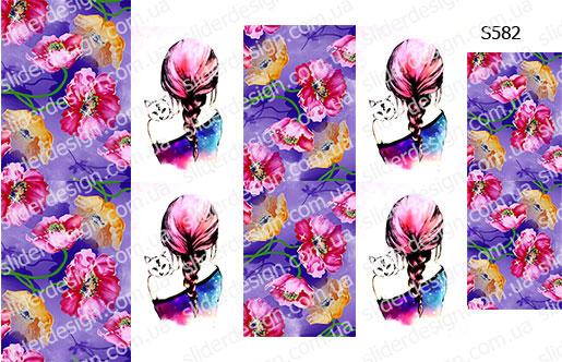 Слайдер дизайн девушка с кошкой+цветы S582