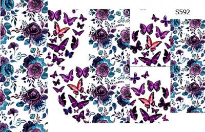 Слайдер дизайн бабочки с цветами S592