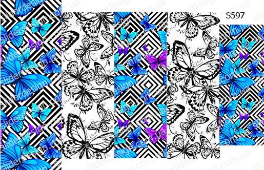 Слайдер дизайн бабочки геометрия S597