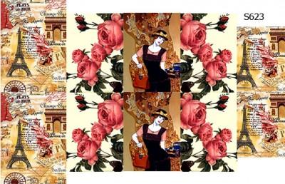 Слайдер дизайн цветы+дама+париж S623
