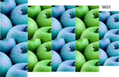 Слайдер дизайн яблоки зеленые голубые S653