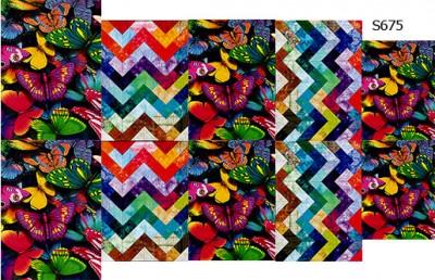 Слайдер дизайн шеврон-бабочки разноцветные S675