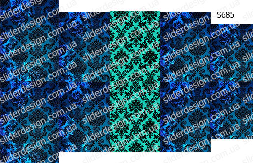 Слайдер дизайн дамаск синий S685
