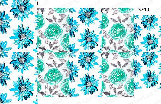 Слайдер дизайн бирюз цветы S743