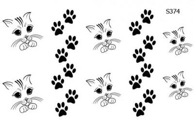 Слайдер дизайн кошка и следы S374