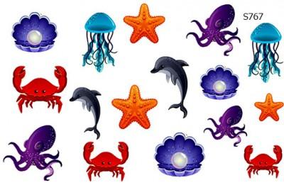 Слайдер дизайн жители моря - краб, медуза, дельфин S767