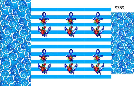 Слайдер дизайн голубой якорь S789