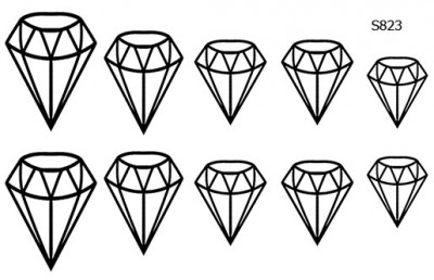 Слайдер дизайн диамант на ноготь S823