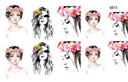 Слайдер дизайн девушки с цветами, венок S873