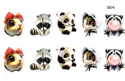 Слайдер дизайн зверушки, енот, панда, мышка, котик S874