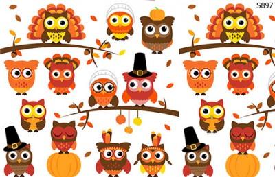 Слайдер дизайн осенние совы, листья S897