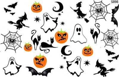 Слайдер дизайн хэллоуин, тыква, летучая мышь, ведьма, паутина S898