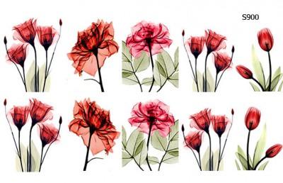 Слайдер дизайн прозрачные красные цветы S900