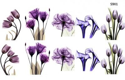 Слайдер дизайн прозрачные синие цветы S901