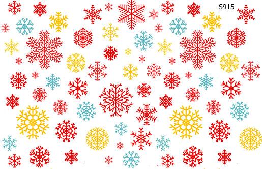 Слайдер дизайн снежинки разноцветные S915