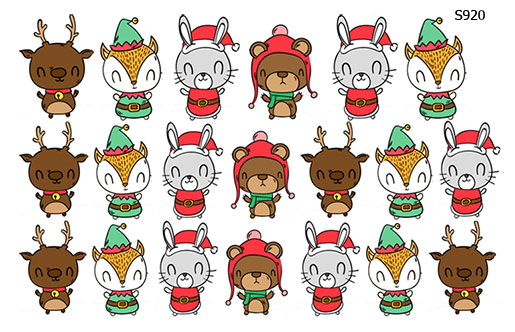 Слайдер дизайн зверушки новогодние, олень, заяц, лиса S920