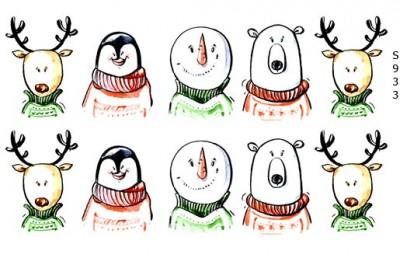 Слайдер дизайн олень, пингвин, снеговик, белый медведь S933