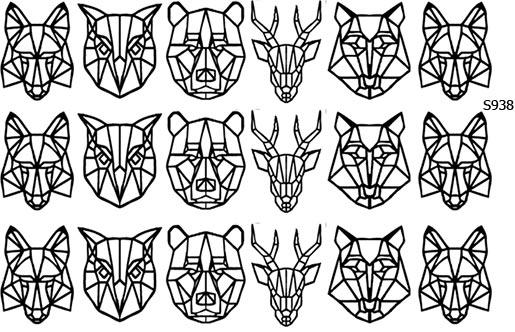 Слайдер дизайн животные из линий, лисица, сова, медведь, олень, волк S938