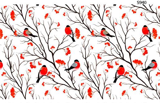 Слайдер дизайн зимние птицы снегири S940