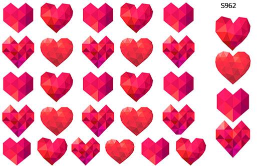 Слайдер дизайн геометрическое сердце S962