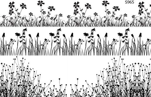 Слайдер дизайн цветы в траве S965