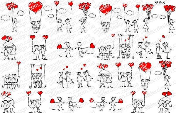 Слайдер дизайн влюбленная пара, сердечки S968