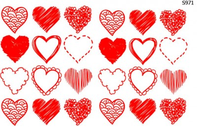 Слайдер дизайн набор сердечек S971
